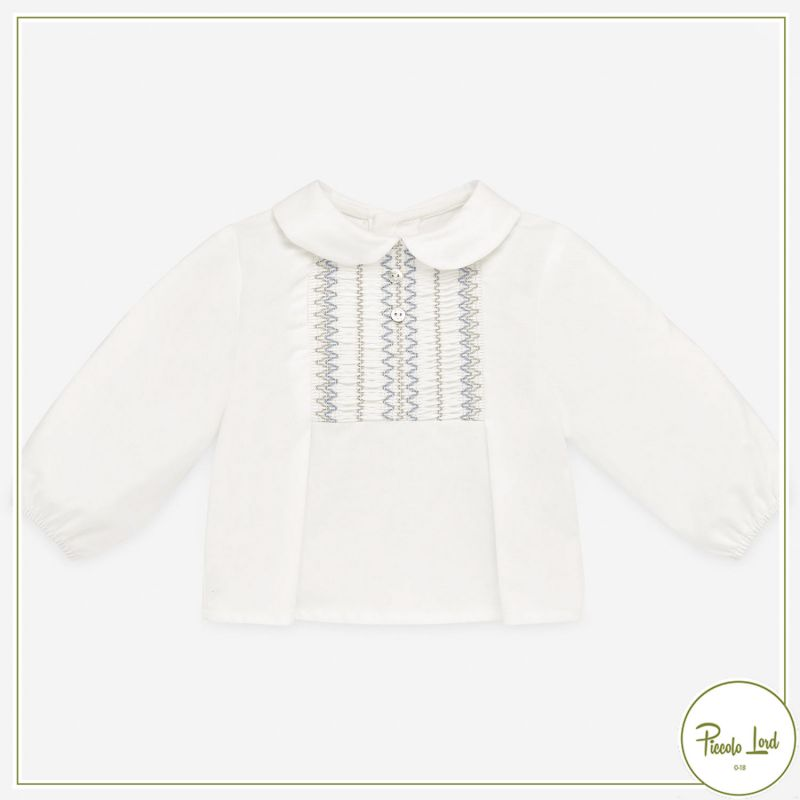Blouse Paz Rodriguez Crean/Powder Blue Abbigliamento Neonato Autunno Inverno 2021 006-35877