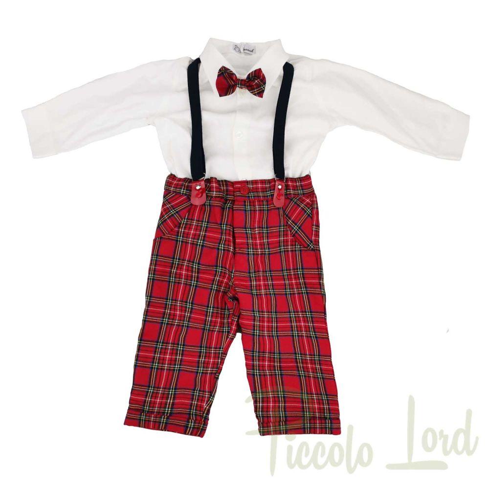 Completo 2 Pezzi Camicia + Salopette Ninnaoh Abbigliamento Neonato Autunno Inverno 2020 I20311#Q001