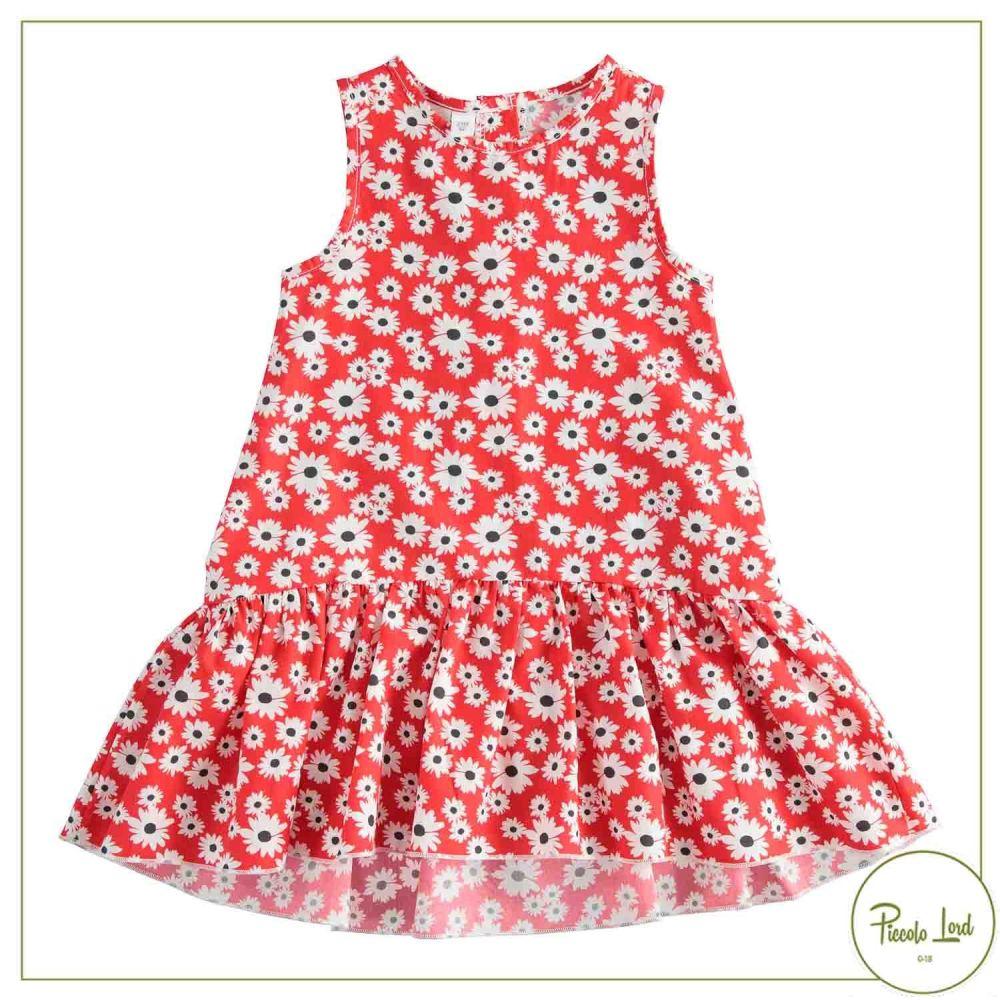 Abito iDO Bianco-Rosso Abbigliamento Bambini Primavera Estate 2021 42779