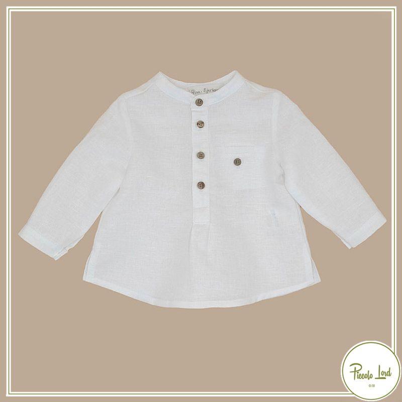 P21B43 Camicia White Fina Ejerique Abbigliamento Bambini Primavera Estate 2021 Piccolo Lord