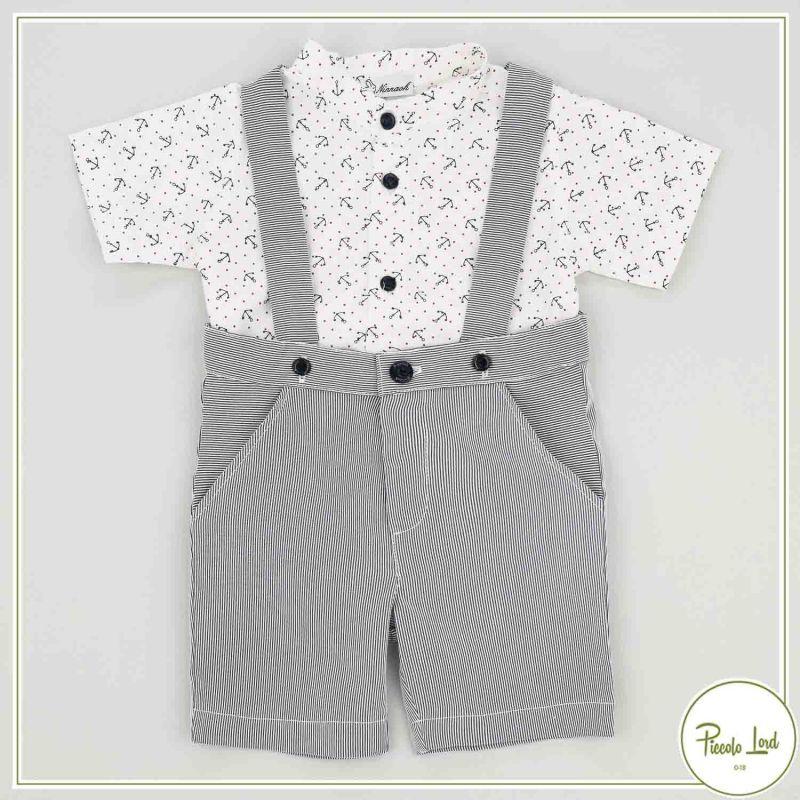 Completo Ninnaoh Ancora Abbigliamento Neonato Primavera Estate 2021 E21231#ANBL