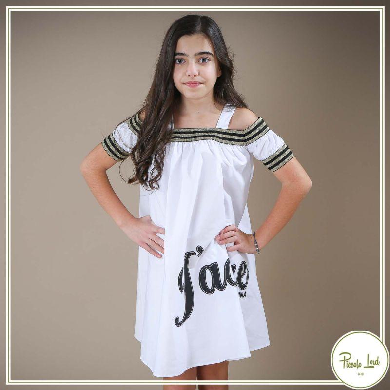 Abito Fracomina Bianco Abbigliamento Bambini Primavera Estate 2021 F621SD2003W40301-611